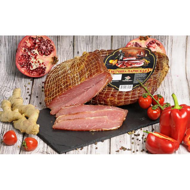 """Ветчина """"Пармская"""", сырокопченая (вес одного окорока около 0,7-1,25 кг.) Рецепты Бульбаша, 1кг."""
