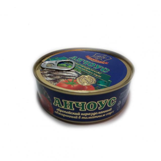 Анчоус европейский неразделанный обжаренный в томатном соусе (Хавиар) Крым, 240 гр.