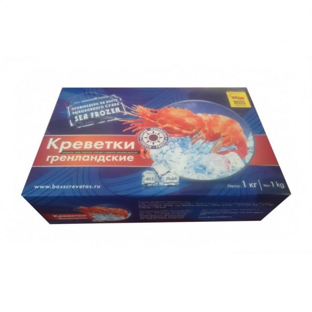 Креветка гренландская (Морской Дракон) Дикая 70-90 шт/кг варено-мороженная (Boss Crevetos) сухой заморозки, Дальний Восток, 1кг